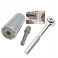 Universal Socket Wrench All Grip with Power Drill Adapter and Handle