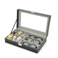 6+3 Mixed Grids Watch Sunglasses Pu Leather Display Storage box