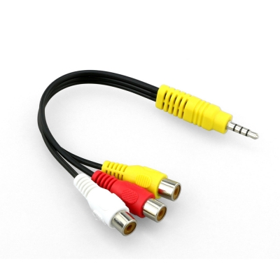 3.5mm Mini Aux Male Stereo Right to 3 RCA Female Audio Video AV Cable