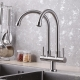304 Stainless Steel Double Fixed Faucet Basin Tap Premium Quality