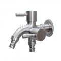 304 Stainless Steel 2 Head 1 in 2 out Two Way Water Washer Tap Faucet