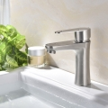 304 Stainless Steel Basin Faucet Brushed Bathroom Sink Faucets (2794)