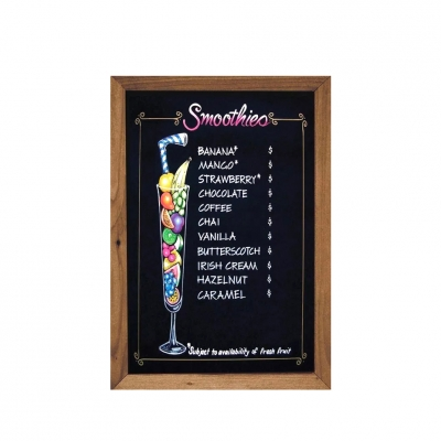 Wood Black Magnetic Wooden Framed Menu Cafe Chalk Board 45*60cm