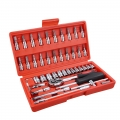 46pc Combination Socket Ratchet Spanner Wrench Car Repair Tool Set