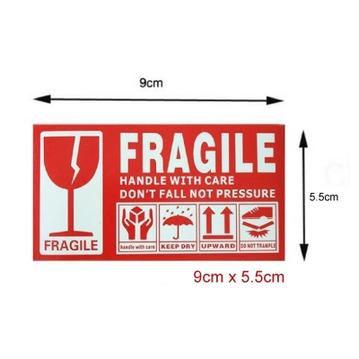 100pc Fragile Sticker Label Warning Courier Postage Shipping 9cm x 5cm