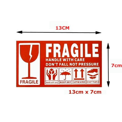 100pc Fragile Sticker Courier Lebel Postage Shipping 13cm x 7cm