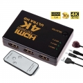 4K 3 in 1 out HDMI Switch Hub TV Switcher Ultra HD for TV PC