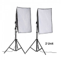 50x70cm Photo Lighting Studio E27 Softbox Video Kit + Stand (2 units)