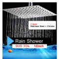 12 Inch Bathroom Stainless Steel Rain Shower Head Only(SUS304) 2layer