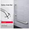 L Shape SUS 304 Toilet Handrail Safety Grab Bar Old Folk 2 Layer