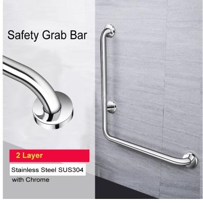 L Shape SUS 304 Toilet Handrail Safety Grab Bar Old Folk 2 Layer