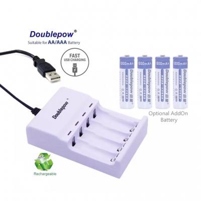Doublepow U82 USB Rechargeable 4 slot AA/AAA Battery Charger Adapter