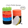 "12pcs 4 Inch 4"" Car Polishing Polish Waxing Wax Sponge Pad Kit"