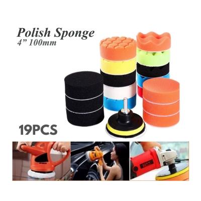"19pcs 4 Inch 4"" Car Polishing Polish Waxing Wax Sponge Pad Kit"