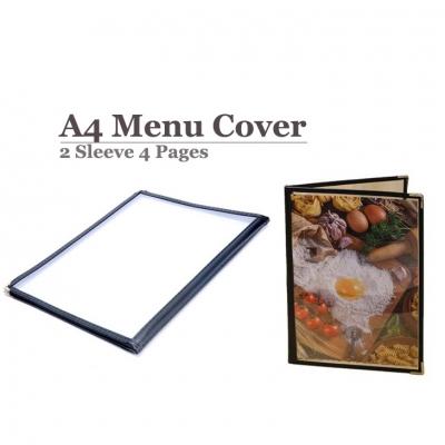 A4 Restaurant Transparent Menu Cover 2 Sleeve Pocket Sheet 4  Pages