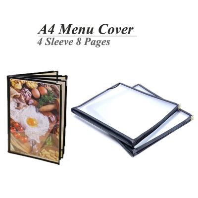 A4 Restaurant Transparent Menu Cover 4 Sleeve Pocket Sheet 8 Pages