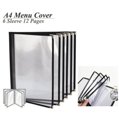 A4 Restaurant Transparent Menu Cover 6 Sleeve Pocket Sheet 12 Pages