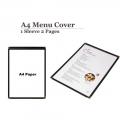 A4 Restaurant Transparent Menu Cover 1 Sleeve Pocket Sheet 2  Pages