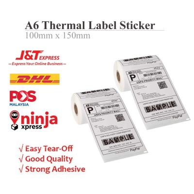 A6 Thermal Paper Shipping Label Sticker Roll (350pcs/roll) 100x150mm