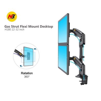 NB H180 22-32 Inch Gas Strut Dual Monitor Bracket Desk Stand