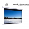 "100"" Manual Projector Screen 4:3 Auto Lock Wall Hand Pull Down"