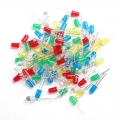 100pcs 5mm LED Light White Yellow Red Green Blue Assorted Kit