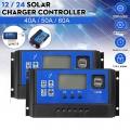 12V/24V 40A 50A 60A Solar Panel Battery Charger Controller Regulator