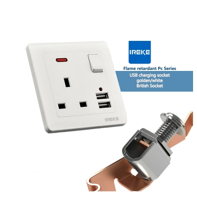 IREKE Dual USB Port 5V 2.1A Electric Wall Plug Power Socket Charger
