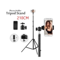 210CM Table Floor Tripod For Phone Camera Ring Light Metal Stands