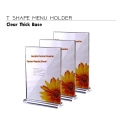 Acrylic Menu Stand T Shape  Double Sided Clear Base Display Stand