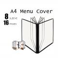 A4 Restaurant Transparent Menu Cover 8 Sleeve 16 Pages Pocket Sheet