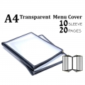 A4 Restaurant Transparent Menu Cover 10 Sleeve 20 Pages Pocket Sheet