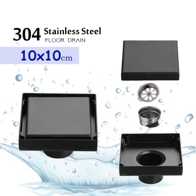 304 Black Stainless Steel 10x10 10cm Invisible Floor Drain Odorless