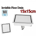 15x 15cm Floor Drain Invisible 304 Stainless Steel 3 Layer Anti Odor