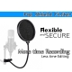 Microphone Mic Pop Filter Dual Layer With Flexible Clip Arm Studio