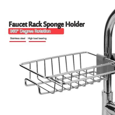 Adjustable Kitchen Stainless Steel Faucet Sponge Soap Sink Holder Rack