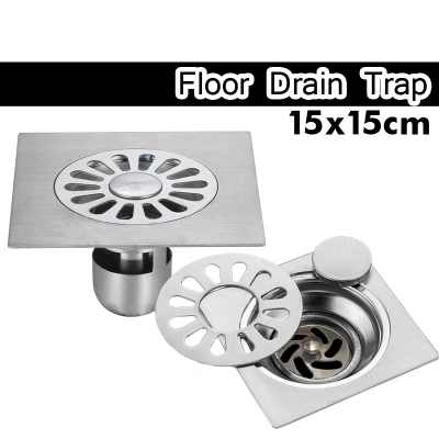 Dual Use Floor Drain 15cm 3layer Anti Odour Stainless Steel