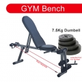Adjustable Gym ABS Exercise Sit Up Bench Fitness Chair +7.5KG Dumbbell