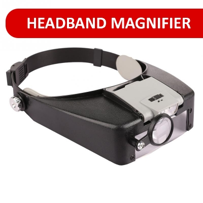 LED Headband Magnifier Lighted Head Magnifying Glass x10 Loupe Watch