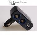 3.1A Dual Usb & Cigarette Socket Car Handphone Charger LED (Black)