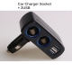 3.1A Dual Usb & Cigarette Socket Car Handphone Charger LED (Black)