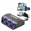 3 Multi Socket Car Charger Car Cigarette Socket & Dual USB (Black)