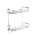Bathroom Kitchen Rack Aluminium Wall Mounted 2 Tier Rectangular