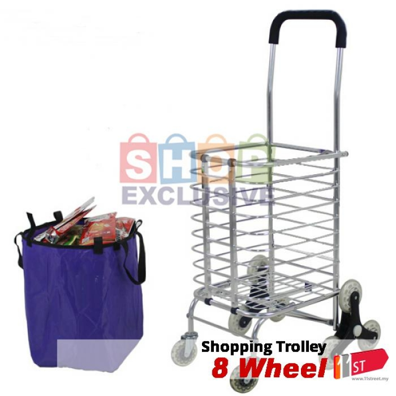 1b6837385f22 8 Wheel High Quality Foldable Shopping Grocery Trolley Cart Upgrade ...