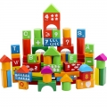 Toy Block 100 pc Educational Wooden Building Blocks, Alphanumeric