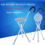 Foldable Crutch Cane Tongkat Stick Seat Stool Chair (Round)