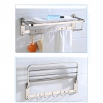 60cm Stainless Steel Bathroom Towel Foldable Hook Wall Hanger Rack
