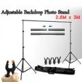 Portable Backdrop Photo Shoot Studio 2.6M x 3M Adjustable Stand 2.6x3M